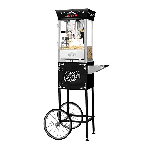 Great Northern Popcorn Black Matinee Movie 8 oz. Ounce Bar Style Antique Popcorn Machine (Cart And Machine Popcorn)
