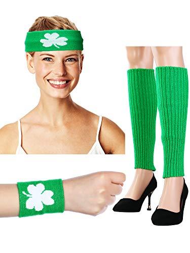 80s Costume Accessories Green Leg Warmer Sweatbands Headbands Wristbands ()