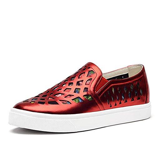 Zapatos altos de plataforma/Lok Fu con zapatos planos/Hueco casual zapatos de cuero con cabeza redonda C