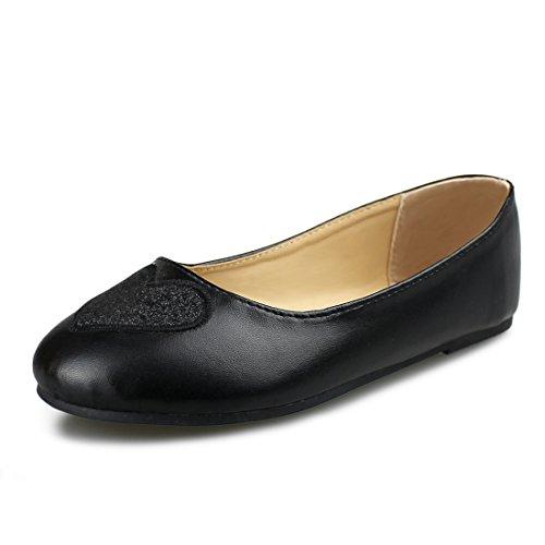 Hawkwell Girls Mary Jane Ballerina Flat Shoes(Toddler/Little Kid/Big Kid),Black PU,12 M -