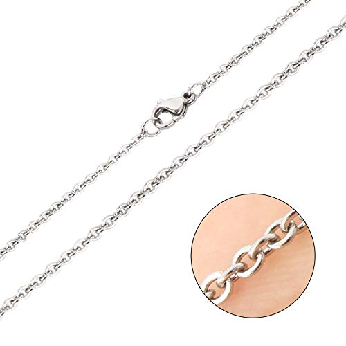 Wholesale 12 PCS Stainless Steel Flat Cable Chain Finished Necklace Chains Bulk for Jewelry Making,(20 Inch(2MM))