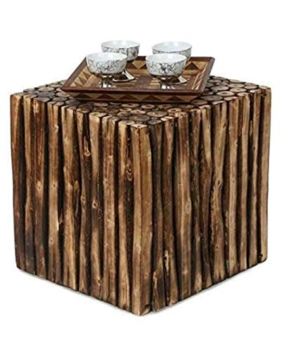 SOF Square Wooden Stool Natural Wood Logs Best Used as Bedside Tea Coffee Plants Table for Bedroom Living Room Outdoor…