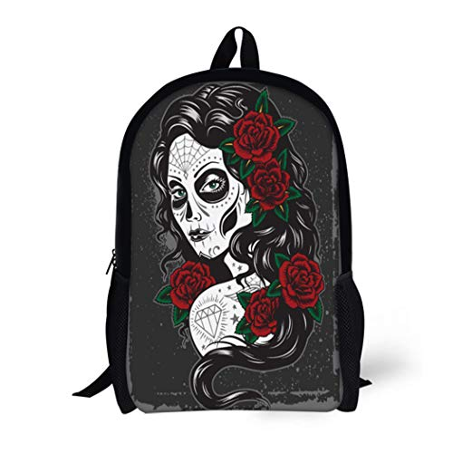 (Pinbeam Backpack Travel Daypack Red Tattoo Day of Dead Girl Sexy Carnival Waterproof School)