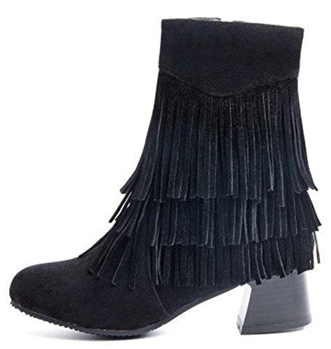 Idifu Kvinna Eleganta Tasseled Fransar Mitten Chunky Klackar Ridning Boots Med Dragkedja Svart