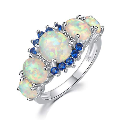 (CiNily Sterling Silver Plated White Opal and Sapphire Women Jewelry Gemstone Ring Size 6)