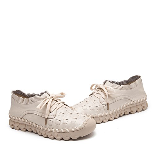 Socofy Women's Leather Loafers Shoes,Ladies Leather Flat Loafer Women Casual Work Shoes Handmade Stitching Lace up Flat Indoor and Outdoor Single Shoes Beige