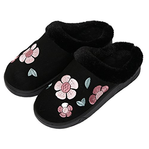 Fleurs De Cyprès Fleurs En Peluche Maison Pantoufle Anti-dérapant Chaud Chaussures En Coton Rose