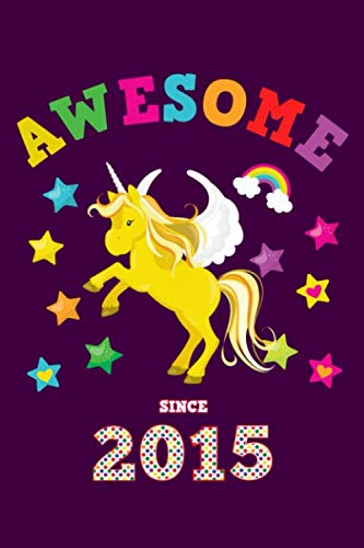 Awesome Since 2015: Unicorn 4 x 4 Quadrille Squared Coordinate Grid Paper | Glossy Magical Purple Cover for Girls Born in '15 | Math & Science ... Students | Four squares per inch graph page