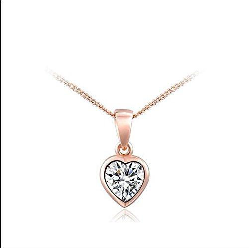 MTSZZF Collier Pendentif en Forme de Coeur en plaqu? Or Rose en Forme de Coeur pour Femme