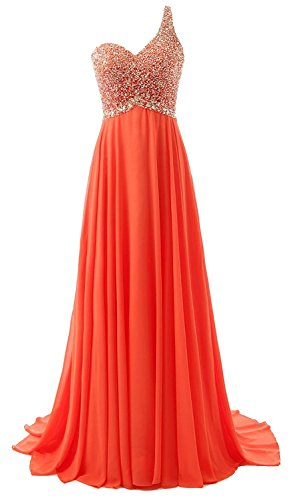 Long Anlin Tangerine Chiffon Beads Women's Tango One Bridesmaid Prom with Dress Gown Shoulder pXpqa