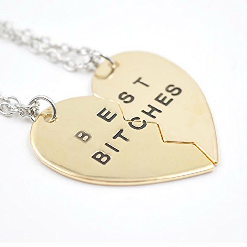 Cosplaywho BFF Best Bitches Gold Split Heart Pendant Necklace 2 PC