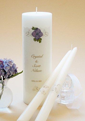 - Gold Elegance Wedding Unity Candles - Purple Hydrangea