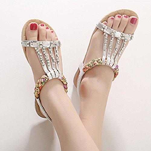 VECJUNIA Ladies Summer Beach Sandals Boho Rhinestones Flip Flops Flat Low Heel Casual Thongs Dress Shoes Silver WpCLpqP