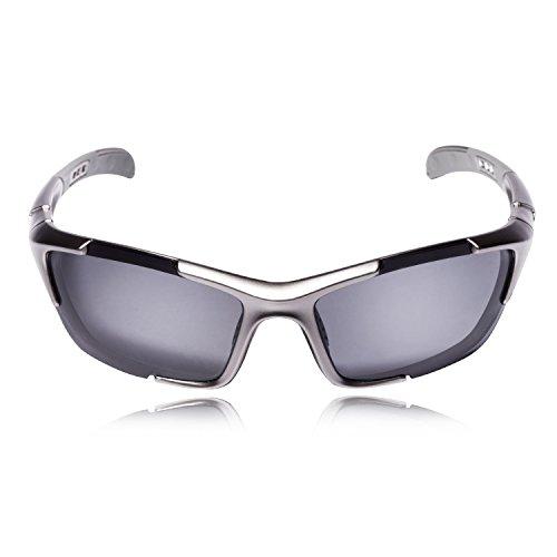 Hulislem S1 Sport Polarized Sunglasses FDA Approved (Gun-Smoke) Sunglasses for Men Women Mens Womens Sports