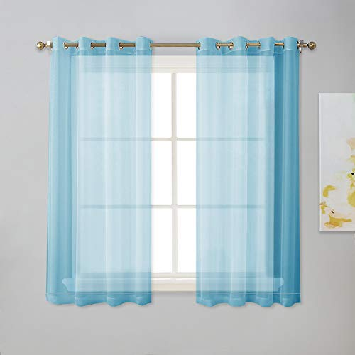 NICETOWN 45 inches Sheer Curtain Panels - Ring Top Light Filtering Thin Drapes for Kitchen Window (Baby Blue, 1 Pair, W54 x L45) (Baby Blue Kitchen Curtains)