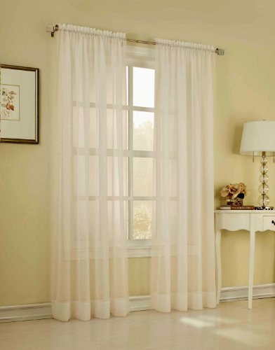 Élégance 2 Piece Solid Ivory Sheer Window Curtains/Drape/Panels/Treatment 55