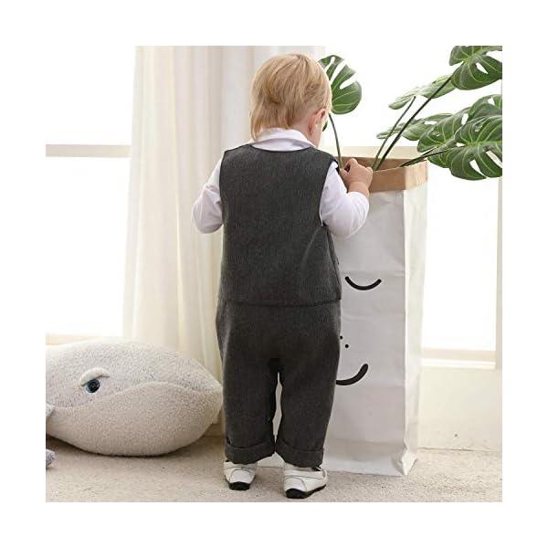 CARETOO Neonato Bambini 3 Pezzi Pagliaccetto + Gilet+ Cappello Formale Gentleman Nozze Suit Smoking Battesimo 3-18 Mesi 4