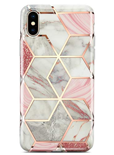 Coolwee iPhone X Case, iPhone XS Case Marble Slim Fit Bling Glitter Sparkle Foil Stripe Thin Cute Design Glossy Finish Soft TPU Bumper Girl Women Protective Cover for Apple iPhone X 5.8 inch Rose Gold