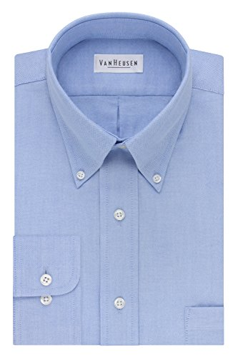 (Van Heusen Men's Long-Sleeve Oxford Dress Shirt, Blue, 17.5