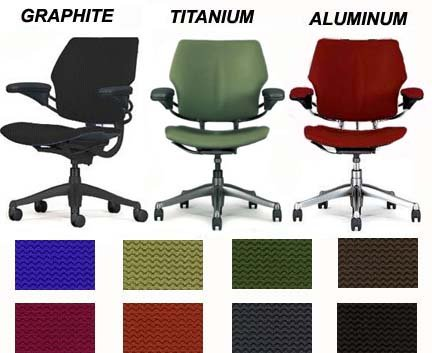 HumanScale Freedom Task Desk Chair F111 Standard Seat Blue Wave Fabric Standard Duron Arms Standard Chair Height Graphite Frame with Standard Casters