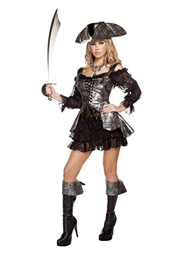 Roma Pirate Costume (Roma Costume Women's 2 Piece Deadly Pirate Wench, Grey/Black,)
