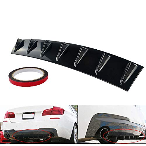K KARL Rear Bumper Lip Diffuser ABS Universal with 7 Shark Fin (Black, Large)