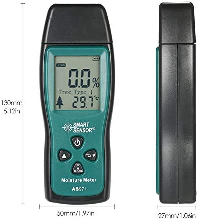NECZXW1 Pin-Type Moisture Detector, Portable Wood Moisture Meter, Data Retention Function, Large Lcd Display, Switchable Backlight, Easy To Read