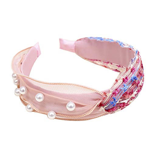 lightclub Candy Color Colorful Summer Wide Band Hairband Headband Sweet Women Color Block Faux Pearl Beading Twist Knotted Hair Hoop Headband Pink