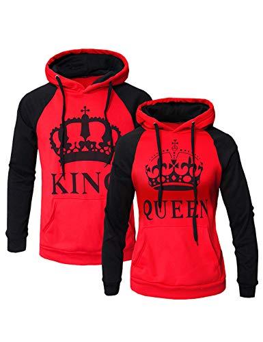 Womens Couple Sweatshirt Hoodie Casual King Queen Sweatshirts Pullover Red Women XL/Men L ()
