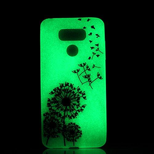 LG G6 Gel de Silicona Funda(con Gratis Lápiz táctil) KaseHom Efecto Luminoso Noctilucent Verde Brillan en la Oscuridad Guay Moda Vistoso Patrón Diseño Transparente Ultra Fino DelgadoClaro Mate A Prue Pájaros Voladores y Dientes de León