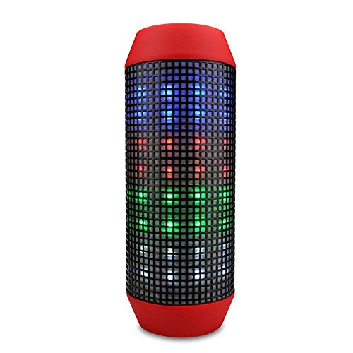 RcnryBluetooth Speaker with pulsating Lights, Double 3W Speakers, Surrounded by Stereo Bass, Built-in Microphone, Flashlight, Easy to Connect to capricious - Case Gold Go Psp