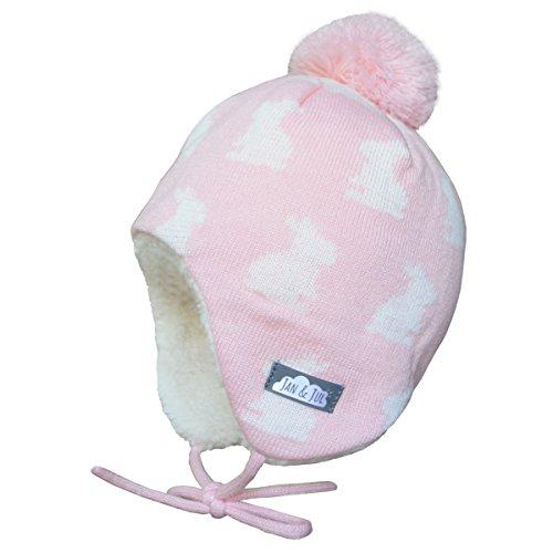 JAN & JUL Toddler Girl Winter Earflap Beanie Hats (M: 6-24 Months, Bunny Sisters)