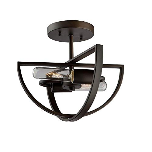 Artcraft Lighting Artcraft AC10882OB Newport 2-Light Semi Flush Mount, Oil Rubbed Bronze