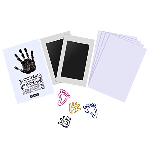 PChero 2 Packs Safety Baby Handprint and Footprint Ink Pad Kit, Non-Toxic and Clean-Touch, Uses for Family Keepsake Baby Shower Gift and Registry (Medium Size for 0-6 Months)