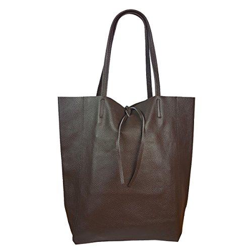 FreyFashion - Made in Italy - Bolso de tela de Piel Lisa para mujer marrón oscuro