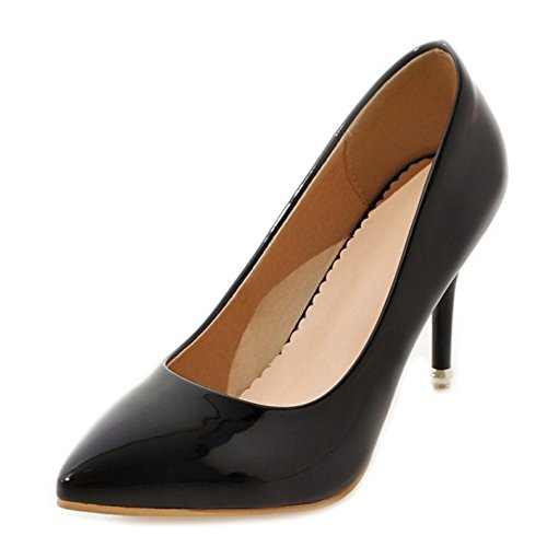 SJJH Court Shoes with Stiletto and Pointed Toe Nice Women OL Style Pumps Simple Design Women Shoes with Large Size Black