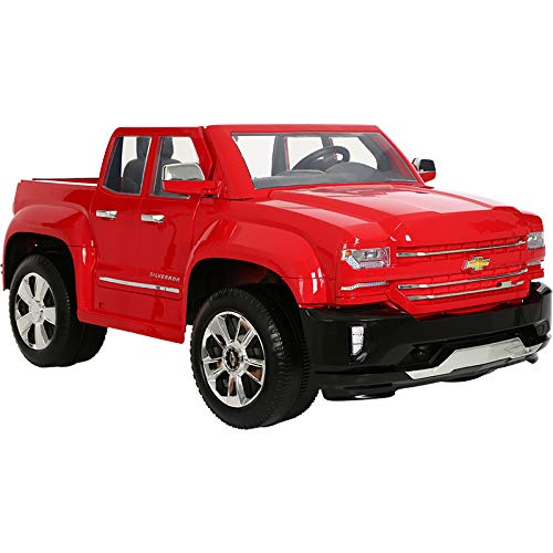 41p%2BGf2FpzL - Rollplay 12 Volt Chevy Silverado Truck Ride On Toy, Battery-Powered Kid's Ride On Car - Red