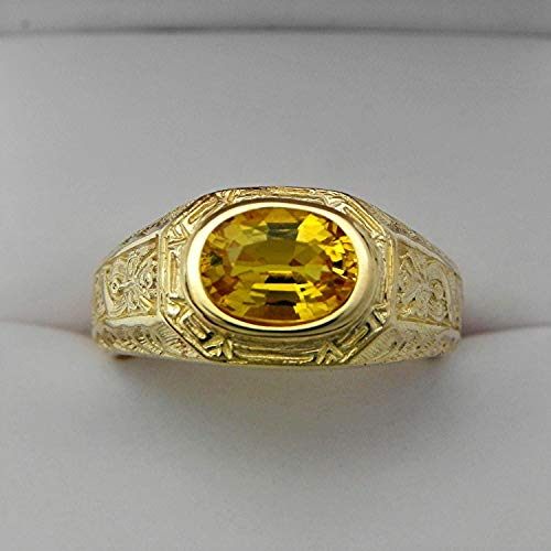 Citrine Man's Gold Ring, Real 925 Solid Silver Ring, Brilliant Cut Stone Citrine Ring, Healing Natural Citrine Ring, Heavy Designer Man Ring, Gift For Dad, Yellow Gold Unisex Ring, Wedding Man Jewelry by Goldmine Crafts