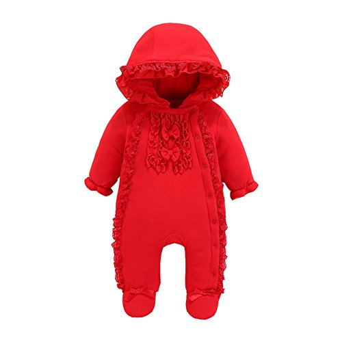 Fairy Baby Newborn Baby Girls Ruffle Flower Outfit Winter Thick Hooded Footies Outwear Size 0-3M -