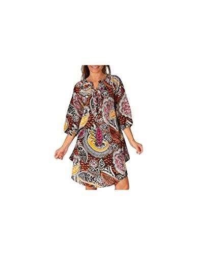 Modeincoton - Algodón túnica larga manga 3/4 pequeño escote en v Modeincoton TUM096 Multicolor