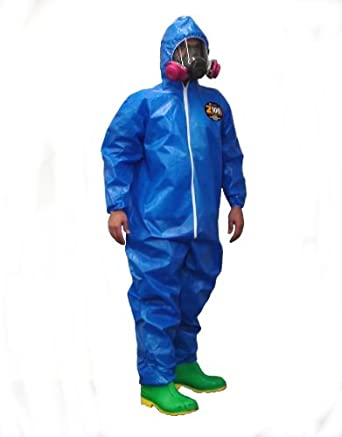 Kappler Zytron 100XP Chemical Protection Coverall with Hood, Disposable, Elastic Cuff, Blue, 2X-Large - 3X-Large, Serged Seam (Pack of 1)