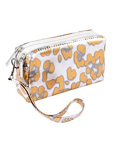 Sourcingmap-leopardato con cerniera, 2 tasche a forma di borsetta in finta pelle con tracolla Arancione,Color Argento