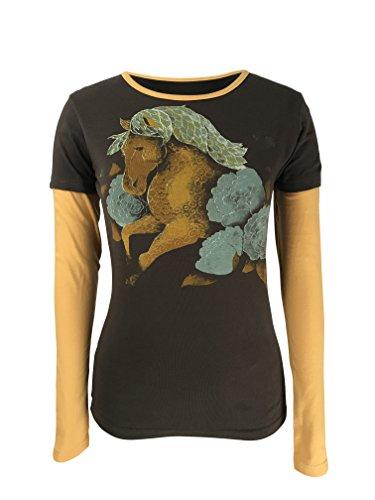 2 Organic Womens T-shirt - Green 3 Running Horse Long Sleeve 2 in 1 Tee (Chocolate Brown) - 100% Organic Cotton Womens T Shirt, Made in The USA (XX-Large)