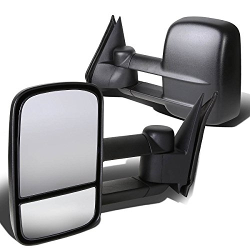 C/k Gmc Series Chevy - Chevy / GMC C/K-Series C10 GMT400 Pair of Powered Telescopic Extended Arm Manual Folding Towing Side Mirrors (Black)