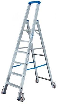 LDC647 Escalera de Tijera Standard con Ruedas, 7 Peldaño, 3.65 m Altura de Escalera, 2.3 m Altura Escalera, 1.65 m Altura Último Peldaño: Amazon.es: Industria, empresas y ciencia