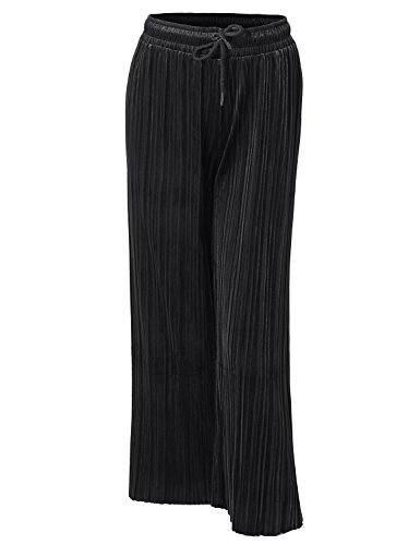 Awesome21 Casual Loose Wide Leg Velvet Pleated Elastic Waist Pants Black Size Onesize