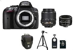 كاميرا نيكون D5300 مع 2 عدسة (18- 55 مم، 50 مم) مع حقيبة، حامل ثلاثي، ريموت، وبطاقة ذاكرة SD سعة 8 جيجابايت