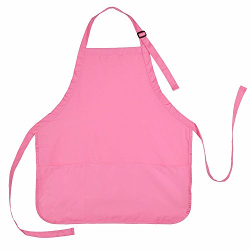DALIX Apron Commercial Restaurant Home Bib Spun Poly Cotton Kitchen Aprons (3 Pockets) (1, Pink)