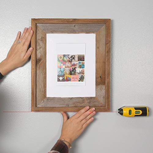 Picture Wall Art - Rustic Barnwood 8 x 10 Picture Frame Plus a Free Laser Level! - Made in The USA