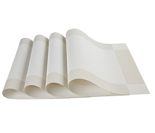 "SICOHOME Vinyl Placemats,Creamy-White,Set of 4 - Material:PVC,Size in:18"" X 12""(45cm X 30cm),Set of 4.All placemats are cut by hand and maybe one or two inches error. Protect your table from scratches,liquid can go through placemats,clean it when finished. Do not put it in dishwasher, wipe clean with a damp cloth or flush with a faucet and dry naturally. - placemats, kitchen-dining-room-table-linens, kitchen-dining-room - 41p%2BIdiu5 L -"